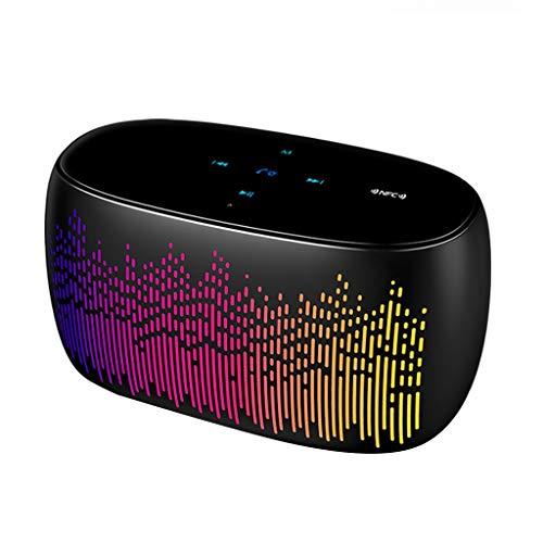 Gfbyq Bluetooth-luidspreker, touchscreen, mini-led, draadloos, kleurrijk licht, drie claxon, 12 uur cadeau voor party subwoofer