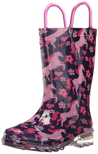 Western Chief Kids Girls' Waterproof Rain Boots That Light up with Each Step, Glitter Horse, 13 M US Little Kid
