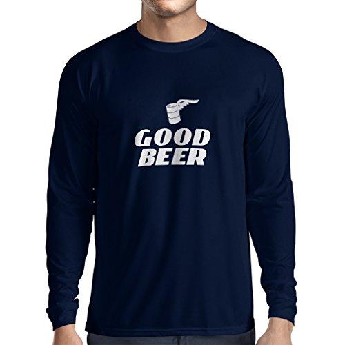 lepni.me Herren T Shirts Ich Brauche EIN gutes Bier, Geschenk für Bierliebhaber Partykleidung (Medium Blau Weiß)