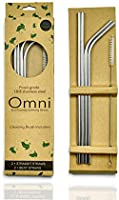 Stainless Steel Reusable Straws with Cleaning Brush, Extra Long 267mm (10.5 inch), Dishwasher Safe, Premium Box...