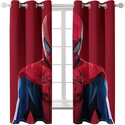 Timcome Spiderman 3D Verdunkelungsvorhang, Blickdichte Vorhänge Gardinen mit Ösen, Geräuschreduzierung Kälte und Wärmeisolierun, Kinderzimmer/Wohnzimmer Verdunkelungsvorhang 2 x 75 x 166cm