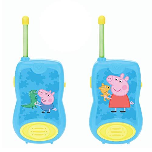 LEXIBOOK- Peppa Pig Walkie-talkies, Pinza para Colgar del cinturón, batería, Azul (8597478)