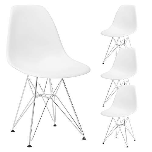 N A MUEBLES HOME - Juego de 4 sillas de comedor con patas de metal para comedor, dormitorio, sala de estar, color blanco