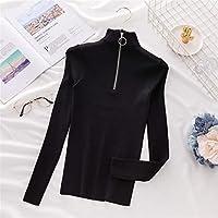 2021春と秋のユニバーサルファッションセクシー ジッパータートルネックセーター韓国の女性のセーター2020の冬のトップスのための秋ジャンパーニットセーターの引っ張り オールマッチ婦人服の様々な種類 (Color : Black, Size : One Size)