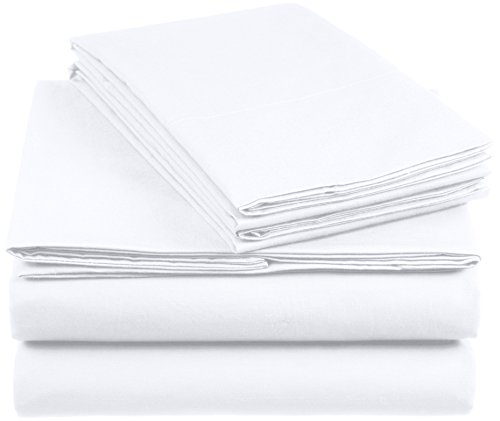 Amazon Basics AB 200TC Cotton-Light, 100% Algodón, Blanco, 200 x 200 cm & 2 Fundas 50 x 80 cm