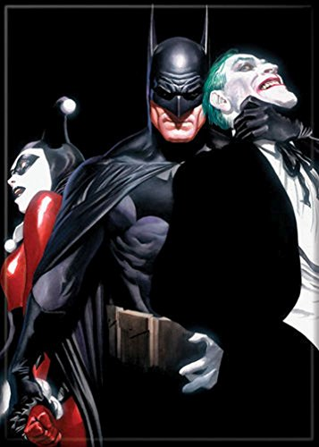Ata-Boy DC Comics Alex Ross Batman, Joker i Harley Quinn magnes 6,5 cm x 8,5 cm do lodówek i szafek
