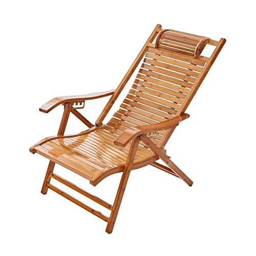 HIZLJJ Silla de salón de bambú Silla Plegable portátil 5 Posiciones Sillón Ajustable Balcón Balcón Silla de Ocio Silla de jardín de jardín