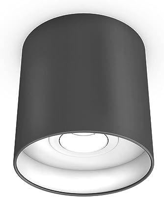 Plafonnier LED à intensité variable   Spot de plafond   Plafonnier   Plafonnier   Plafonnier   Plafonnier en tissu   Plafonnier   Abat-jour textile   Pivotant à 30°   Ø 18 cm   avec ampoule   3000 K   (anthracite/blanc)