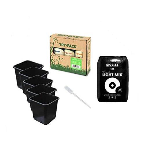 Idroponica Kit Coltivazione Indoor/Outdoor Piante Verdi Automatiche con Terriccio Biobizz Light Mix + Omaggio Pipetta Graduata