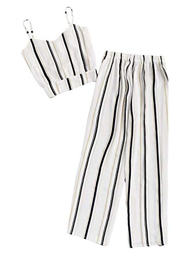 Milumia Women Striped Crop Cami Top with Pants Two Piece Outfit Romper Jumpsuits White Medium