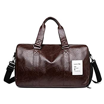 Men s Leather Travel Duffel Backpack Sports Duffle Gym Bag With Shoulder Straps Leather Carry on Bag for gentlemen Oversized Travel Duffel Bag with Waterproof Shoes Compartment 20L-Brown