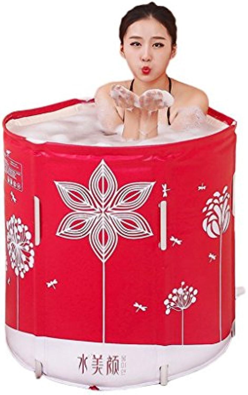 Faltbare Badewanne Faltendes rotes Bad-Fass-erwachsene Bad-Bad-Eimer-freie aufblasbare Badewanne verdicken Badewannen-Bad-Fass (gre   70  70cm)
