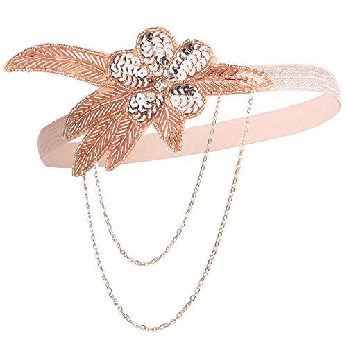 Coucoland Damen 1920s Stirnband mit Kette Blatt Muster 20er Jahre Stil Flapper Charleston Haarband Great Gatsby Damen Fasching Kostüm Accessoires (Champagner)