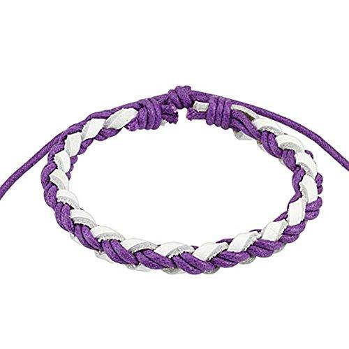 Paula & Fritz® armband leer koord tweekleurig V&W gevlochten violet wit SL0.
