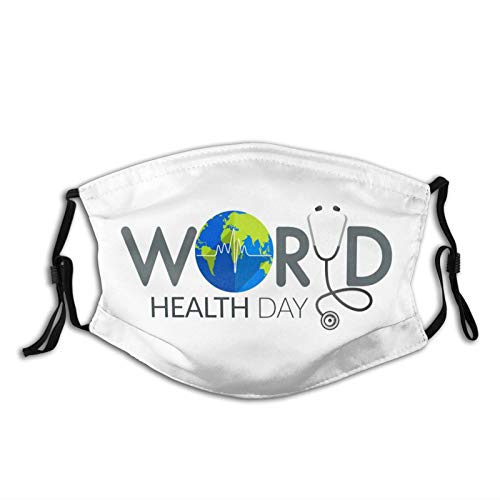 White World Health Day With Earth-Face Mask with 2 Filter, Breathable-Adjustable Filters Mask for Men Women & Teenageroutdoor Indoor