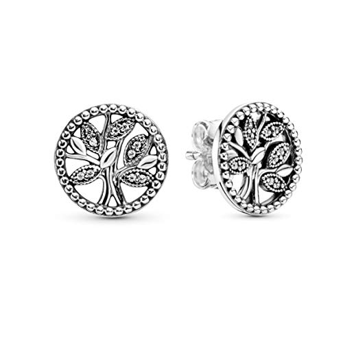 Pandora Jewelry Sparkling Family Tree Stud Cubic Zirconia Earrings in Sterling Silver