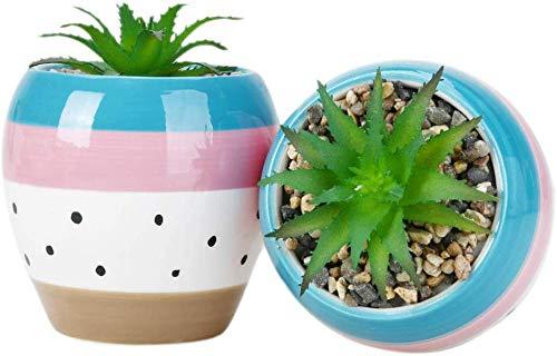 SUN-E 12,5 cm Kunstmatige Kunststof Mini Planten Met Pot Unieke Groene Succulent In Ovale Keramische Pot Voor Plank Keuken Counter Office Decor Potted Home Bruiloft Decoratie (2PCS, Oval)