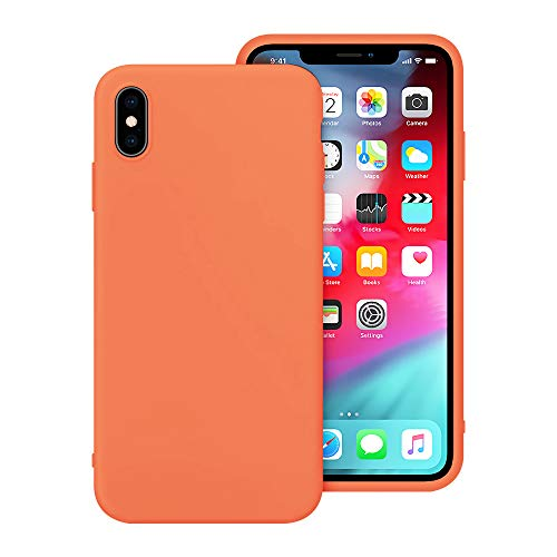 Tercare iPhone X Case, iPhone Xs Case, Anti-Scratch Cases for iPhone X/XS, Silicone iPhone X/XS Cases with Microfiber Cloth Cushion Lining (Peach)