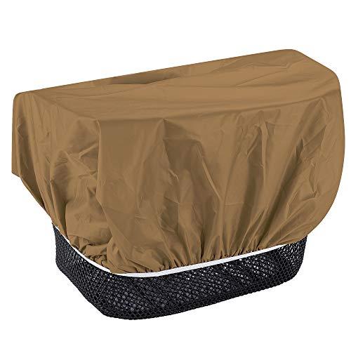 EAZY CASE Fahrradkorb Regenschutz, wasserfester Korbüberzug, Schutzhülle, Korbabdeckung wasserabweisend, Regenüberzug für Fahrradkorb elastisch, Schutzhaube für Regen, Braun