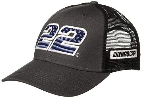 Ouray Sportswear NASCAR Industrial Mesh Canvas Cap Joey Logano, Grey/Black/Grey, Adjustable