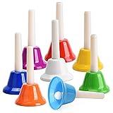 Facmogu - Set di 8 campanelli diatonici colorati in metallo, 8 note, strumento a percussio...