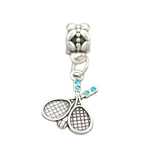 Bling Stars Sport Charme baumeln Tennisschläger und Ball Charms für Pandora Armbänder blau