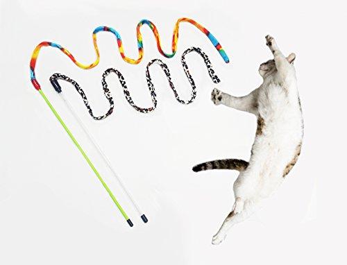 H voor Happy Home 2 x Cat Charmer Interactieve Vliegende Kat Speelgoed Teaser Wand Stick Entertainment + Natuurlijke Catnip en Matatabi Poeder