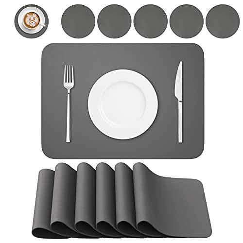 BANNIO 6er Set Tischsets Abwaschbar,Abwischbar Lederoptik Platzset und Untersetzer,Wasserdicht PVC Platzdeckchen Tischset für Hause Küche Restaurant und Hotel,41x31cm,Dunkelgrau
