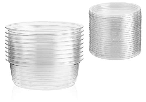 Plastic Food Containers with Lids - 8 oz - Reusable Freezer Safe Tubs - 25 Deli Pots and 25 Lids, Perfect for Food Prep, Small Dips and Salads, and Cereal - 115mm Wide x 40mm Deep