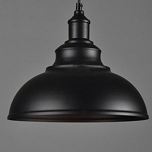Cozyle Style industriel Loft Vintage Pendentif Dôme en métal suspendu à lumière noire 30cm