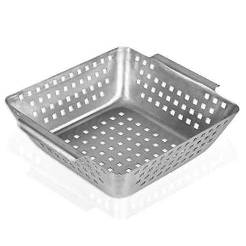 GOURMEO cesta de verdura para barbacoa de acero inoxidable | rejilla para barbacoa, cestillo freidor, cesta para frituras