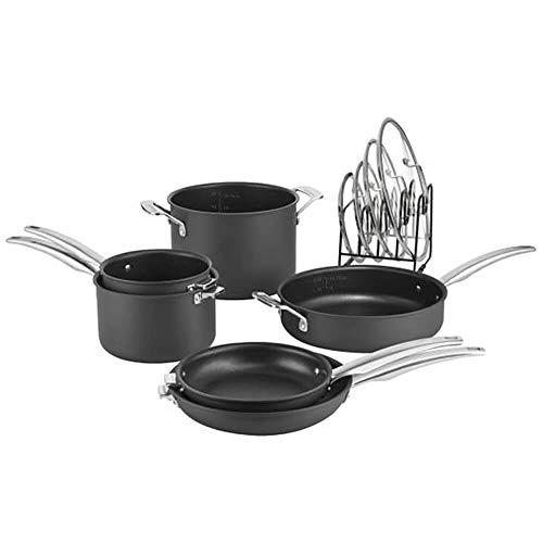 CUISINART N61-11 Nonstick Hard-Anodized Nesting Cookware Set, 11 Piece, Black