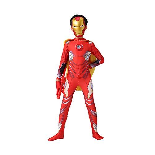 LINLIN Nios Rendimiento Apretado capitn amrica Traje nia nio 3D impresin con Traje de Cabeza Halloween Carnaval Party Onesies,Iron Man- Adult S(155~165cm)
