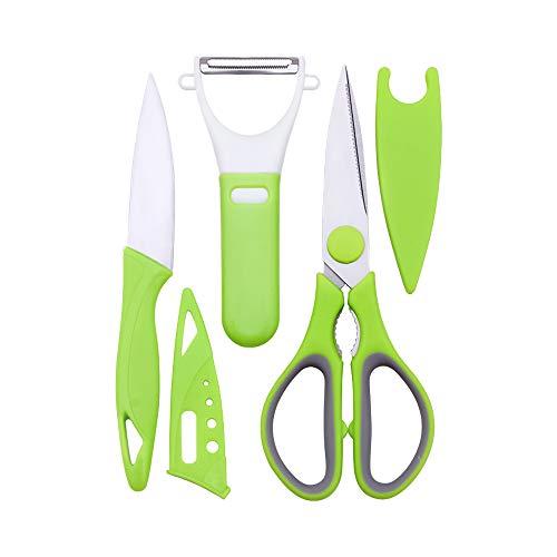 OOK - Set di 3 Forbici da Cucina in Acciaio INOX con Coperchio, Piccolo Coltello da Cucina e Pelapatate per Frutta e Verdura (Verde)