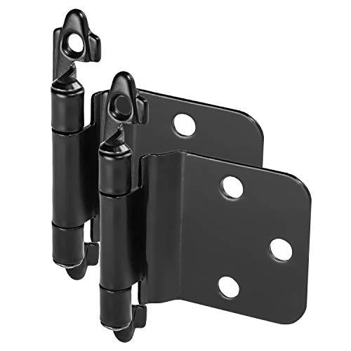 25 Pair Pack - Cosmas 16890-FB Flat Black Cabinet Hinge Variable Overlay with 30 Degree Reverse Bevel (Pair) [16890-FB]