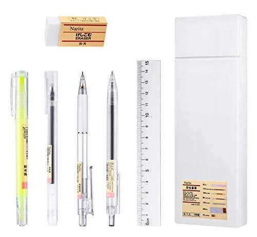 LATERN 7-teiliges japanisches Stift-Set, Gel-Tinten-Kugelschreiber, Druckbleistift, doppelseitiger Textmarker mit Radiergummi, Lineal für Studenten, Schule, Büro
