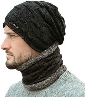 2-Pieces Winter Hat Scarf Set Warm Knit Thick Beanie Hat Scarves Set Gifts for Men Women