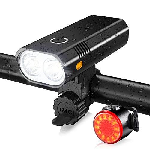 ASUNND Luci Bicicletta, Luce Bicicletta a LED Impermeabile, Ricarica USB, Super Luce da 800 Lumen, Cinque modalità di Illuminazione, Luce Anteriore per Bicicletta e Combinazione di fanali Posteriori