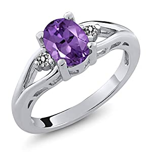 Gem Stone King Amethyst and White Diamond 925 Sterling Silver 3-Stone Women's Ring (1.16 Cttw Oval Gemstone Birthstone) (Size 8)
