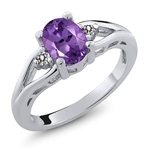 Gem Stone King Amethyst and White Diamond 925 Sterling Silver 3-Stone Women's Ring (1.16 Cttw Oval Gemstone Birthstone) (Size 5)