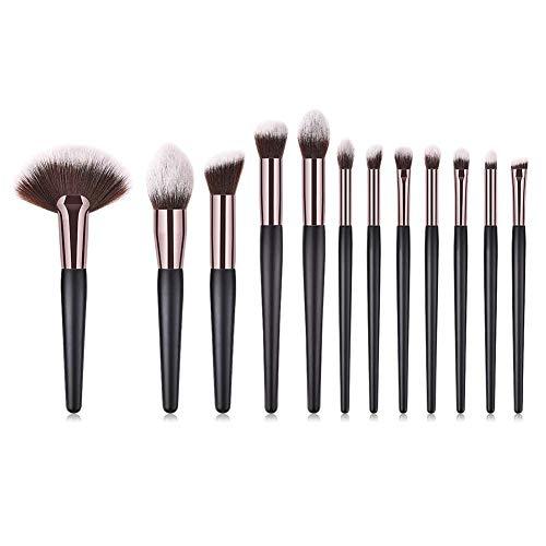 Make-up borstel set, 12 stuk Make-up borstel Make-up gereedschap oog Set oogschaduw borstel houten handvat koffie buis grote ventilator vorm