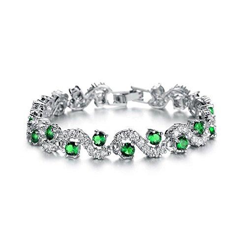 Bracciale Tennis con Verde Smeraldo simulato Cristalli austriaci di zirconi 18 kt Placcato Oro Bianco per Donne 17 cm