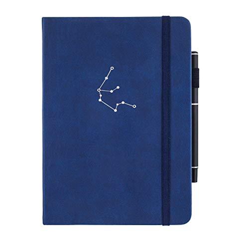 SeQeS Dotted Journal Notizbuch, A5, 160 g/m², tintenfestes Papier, Hardcover, Punktraster-Notizbuch mit Innentasche, Hardcover, gepunktete Tagebücher, blauer Wassermann