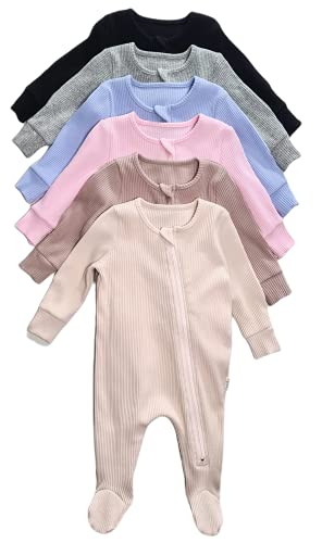 0-3Y Zip Up Sleepsuit Ribbed Soft Cotton Baby Boys Girls Rompers Unisex...