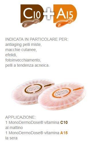 MonoDermà A15 Esfoliante Antirughe 28 Perle + C10 Schiarente Antietà 28 Perle Vitamina Pura