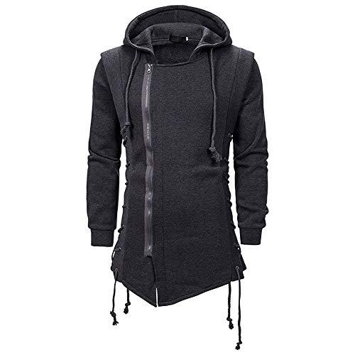 SFYZY Herren Kapuzensweatjacke Hooded Jacket Hoodie mit Reißverschluss Kapuzenpullover Assassin Creed Dunkle Krawatte Slim Fit Kapuzenmantel Zipper Hoodies Mit Seitlicher Zurrung Gekreuzte Hoodies