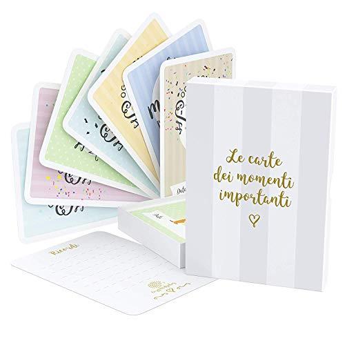Le carte segna tappe del tuo bebè & la scatola dei ricordi – 40 carte unisex per le foto delle tappe più importanti, incluse le carte della gravidanza & le tappe d'età raggiunte (Italiano)