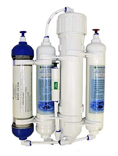 Finerfilters - Filtro de ósmosis inversa compacto de 4 etapas con resina DI/tropical/marino/discus 50/75/100/GPD