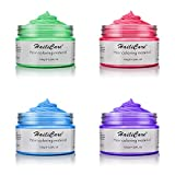 Temporary Hair Color Wax HailiCare 4 Colors in 1 Wash Out Hair Dye Unisex Instant Hair Wax Natural Washable Hair Color for Men Women Kids Party Cosplay Date (Purple, Blue, Green, Red)