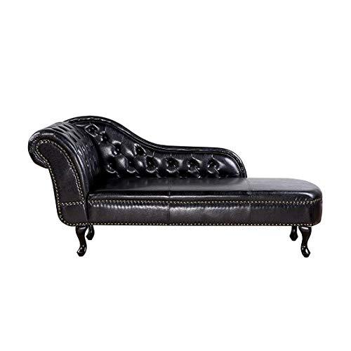 Beliani Retro Récamiere im Chesterfield Style linksseitig schwarz glänzend Nimes